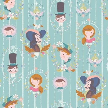 Neverland Darling Wall Mint Character Peter Pan Wendy Captain Hook Tinkerbell Cameo Cotton Fabric
