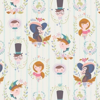 Neverland Darling Wall Cream Character Peter Pan Wendy Captain Hook Tinkerbell Cameo Cotton Fabric
