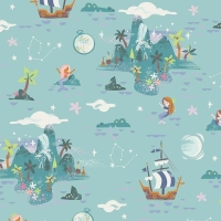 Neverland Island Mint Peter Pan Mermaid Crocodile Pirate Ship Star Cotton Fabric