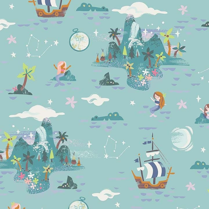 Neverland Island Mint Peter Pan Mermaid Crocodile Pirate Ship Star Cotton F