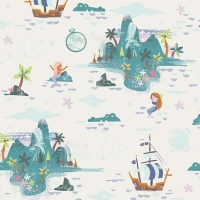 Neverland Island Cream Peter Pan Mermaid Crocodile Pirate Ship Star Cotton Fabric