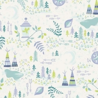 Neverland Lantern Cream Peter Pan Fairy Tinkerbell Teepee Floral Forest Cotton Fabric