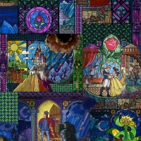 REMNANT Disney Princess Beauty and the Beast Stained Glass Multi Cotton Fabric RARE