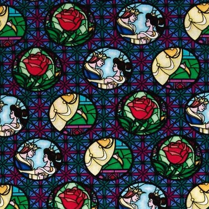 Disney Princess Beauty and the Beast Stained Glass Badges Multi Cotton Fabr