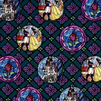 Disney Princess Beauty and the Beast Stained Glass Badges Dark Green Cotton Fabric