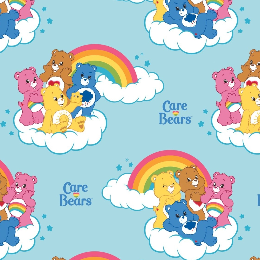 Care Bears Rainbow in Blue Care Bear Logo Rainbows Cloud Cotton Fabric