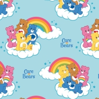 Care Bears Rainbow in Blue Care Bear Logo Rainbows Cloud Cotton Fabric
