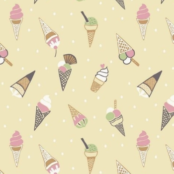 Ice Cream Cones Icecream Scoop on Yellow Picnic in the Park Cotton Fabric
