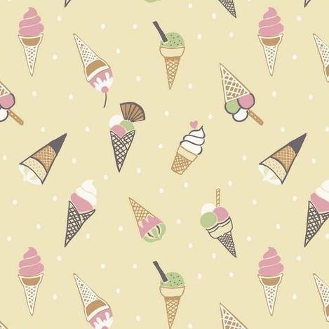 Ice Cream Cones Icecream Scoop on Yellow Picnic in the Park Cotton Fabric