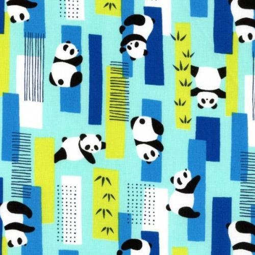 Pandas Cosmo Zoo Visit Panda Bear Bamboo Forest Aqua Cotton Fabric
