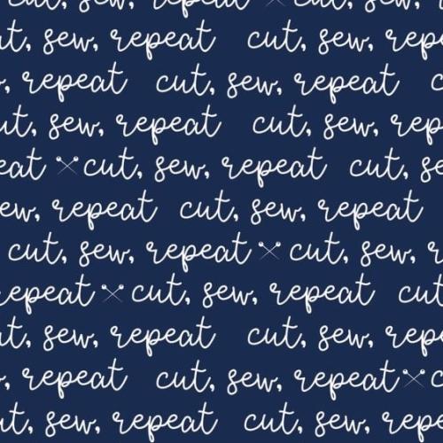 Blue Carolina Cut Sew Repeat Pins Sewing Themed Text Tagline Navy Cotton Fa