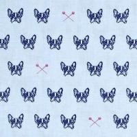 French Bulldog Blue Carolina Edie Blue Bull Dog Pins Cotton Fabric