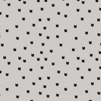 Meow Dot Gray Tiny Cat Heads Silhouette Black on Grey Cats Cotton Fabric