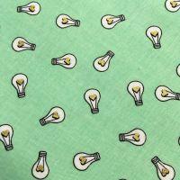 Shine Bright Light Bulb Heart Lightbulbs Metallic Gold Shine Brilliant Lightbulb Mint Cotton Fabric