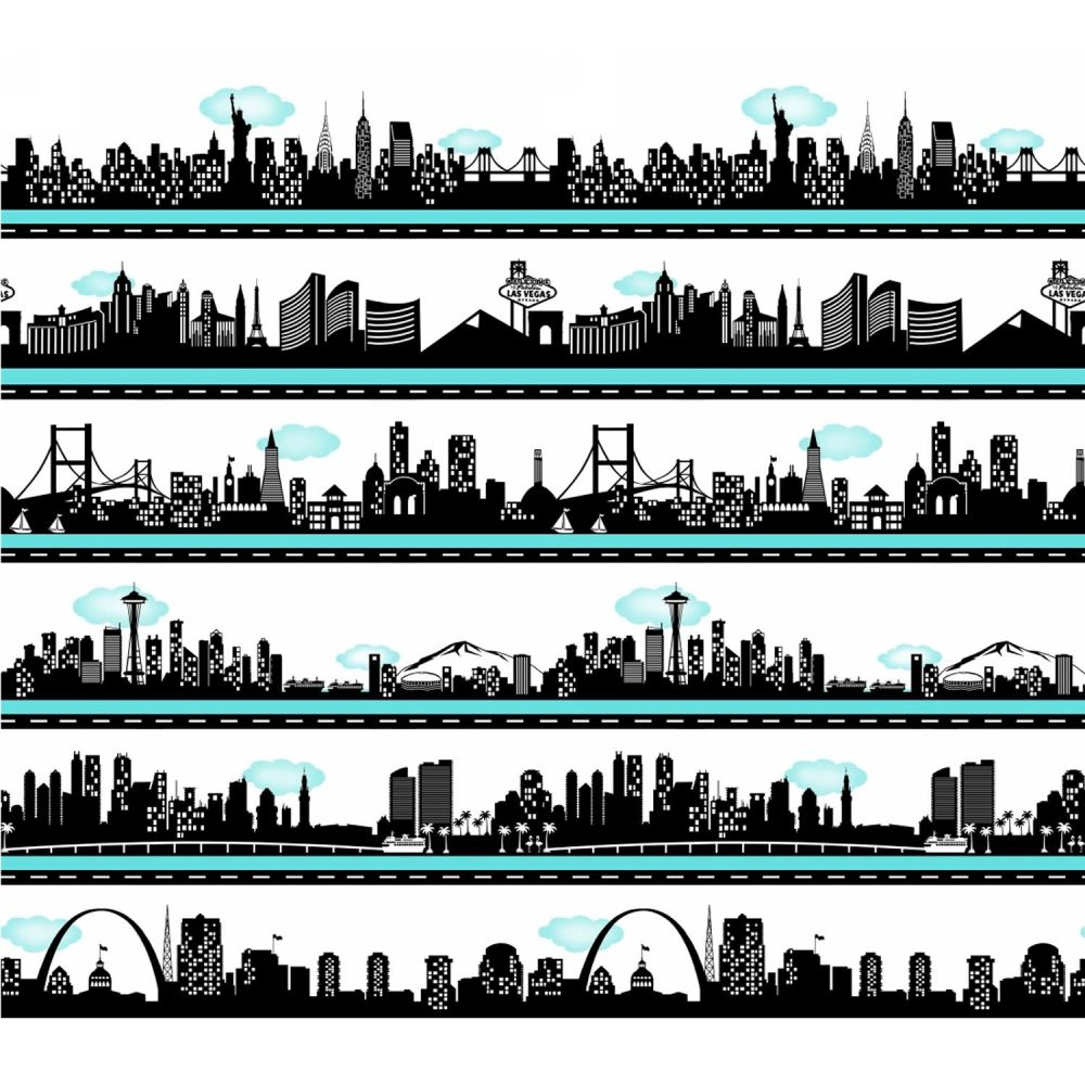 Road To Happiness USA City Skyline Silhouette Stripe Cityscape Travel Borde