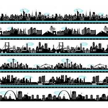 Road To Happiness USA City Skyline Silhouette Stripe Cityscape Travel Border Print Panel Cotton Fabric