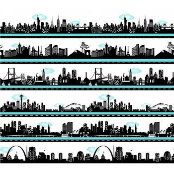 Road To Happiness USA City Skyline Silhouette Stripe Cityscape Travel Border Print Panel Cotton Fabric