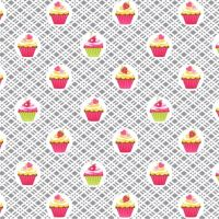 Cupcake Cafe Cupcakes Geo Plaid Gray Baking Cake Sweet Treat Pink Cotton Fabric