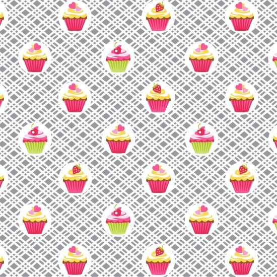 Cupcake Cafe Cupcakes Geo Plaid Gray Baking Cake Sweet Treat Pink Cotton Fa