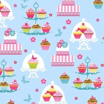 Cupcake Cafe Cake Stands Cupcakes Cakestand Baking Cake Sweet Treat Blue Cotton Fabric