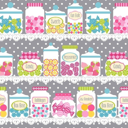 Cupcake Cafe Sweets Candy Jars Sweet Shop Shelves Cotton Fabric