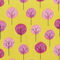 Road Trip Lollipop Trees Starfruit Tree Botanical Woodland Silhouette Cotton Fabric