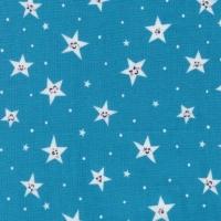 Road Trip Goodnight Twinkle Stars Happy Smiley Star Blue Nursery Cotton Fabric