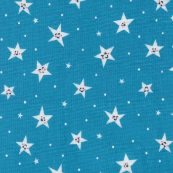 Road Trip Goodnight Twinkle Stars Happy Smiley Star Blue Nursery Cotton Fabric
