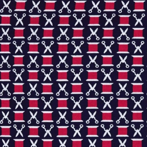 Sewing Circle Snips n' Spools Navy Sew Scissors Thread Spool Cotton Reel Sc