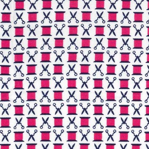 Sewing Circle Snips n' Spools Fuschia Sew Scissors Thread Spool Cotton Reel