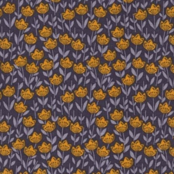 Into the Woods Mountain Laurel Floral Yellow Flowers on Stone Grey Cotton Fabric