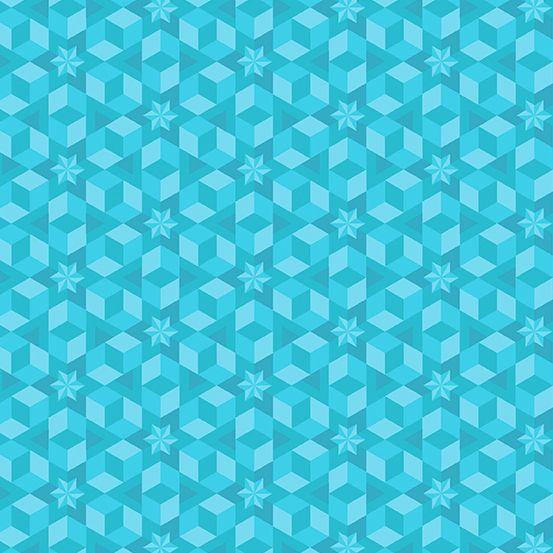 Diving Board Starfish Sea Glass Aqua Turquoise Quilt Star Geometric Stars B