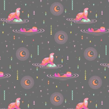 Tula Pink Spirit Animal Otter and Chill Starlight Geometric Triangles Stars Space Otters Cotton Fabric