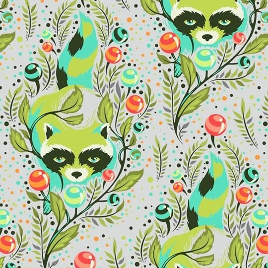 Tula Pink All Stars Raccoon Agave Raccoons Floral Botanical Cotton Fabric