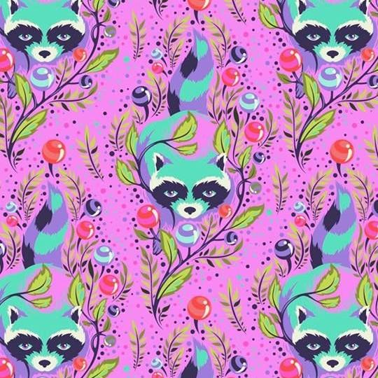 Tula Pink All Stars Raccoon Fuchsia Raccoons Floral Botanical Cotton Fabric