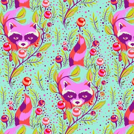 Tula Pink All Stars Raccoon Poppy Raccoons Floral Botanical Cotton Fabric