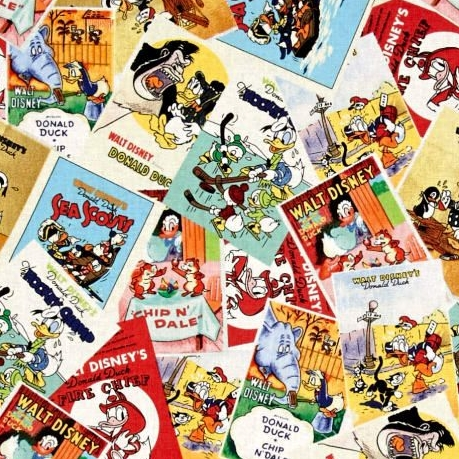 Disney Classics Donald Duck Multi Posters Chip and Dale Cartoon Cotton Fabr