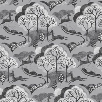 Into The Woods Trees Deer in the Forest Woodland Scene Animal Grey Scenic Cotton Fabric