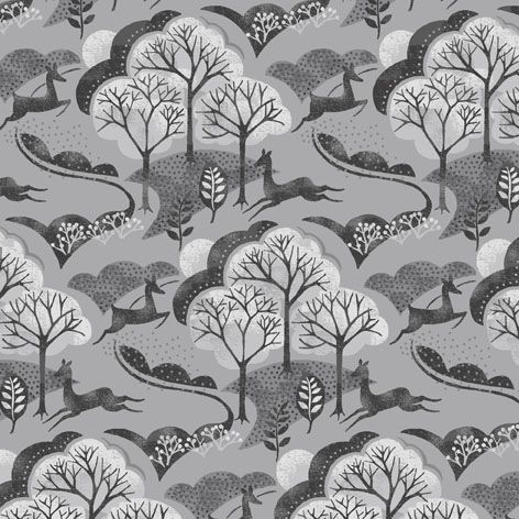 Into The Woods Trees Deer in the Forest Woodland Scene Animal Grey Scenic C