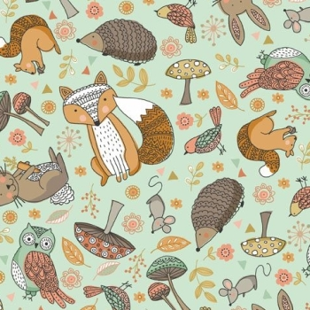 Doodle Days Scatter Animals Owl Squirrel Hedgehog Fox Bird Hare Forest Woodland Turquoise Cotton Fabric