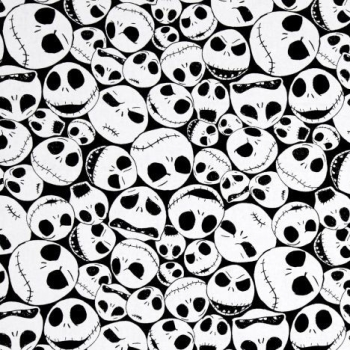 REMNANT Disney Nightmare Before Christmas Packed Jack Skellington Faces on Black Cotton Fabric