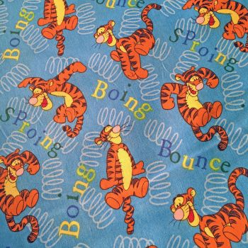 REMNANT Disney Winnie the Pooh Tigger Bounce Blue Cotton Fabric