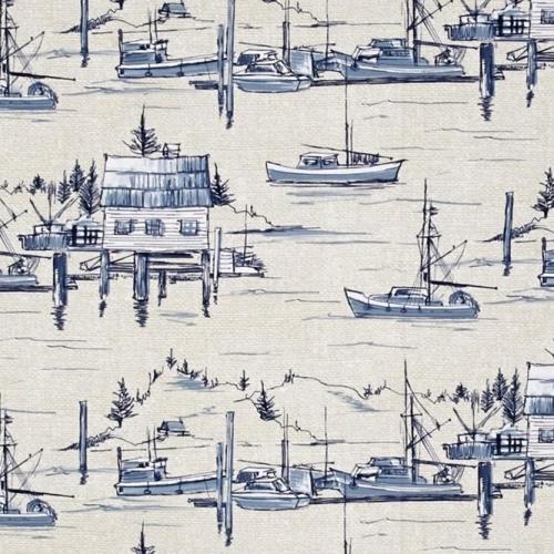 REMNANT The Cove Sailboat Sailing Parchment Cotton Fabric