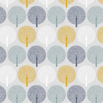 REMNANT Birdsong Spot Trees Botanical Woodland Tree Silhouette Cotton Fabric
