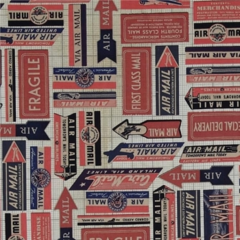 REMNANT Air Mail Red Eclectic Elements Correspondence Cotton Fabric by Tim Holtz
