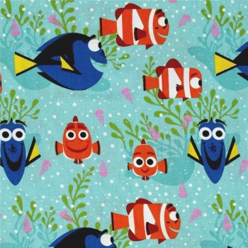 REMNANT Disney Finding Dory All Smiles Nemo Marlin Fish Cotton Fabric