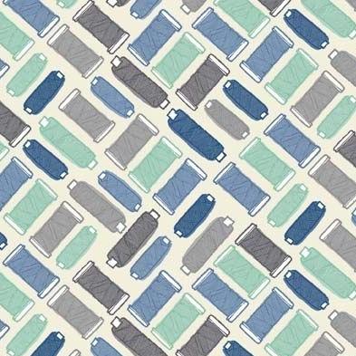 Handmade Makower Cotton Reel Thread Spool Sewing Blue Cotton Fabric