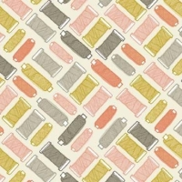 Handmade Makower Cotton Reel Thread Spool Sewing Pink Cotton Fabric