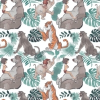 Disney Classics Jungle Book Watercolour Baloo Mowgli Shere Khan Bagheera Cotton Fabric