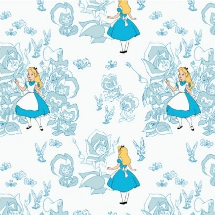 Disney Classics Alice in Wonderland The Flowers Blue Floral Character Cotto